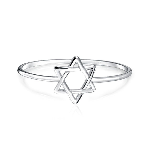 Minimalist and Delicate Plain Star Of David Ring