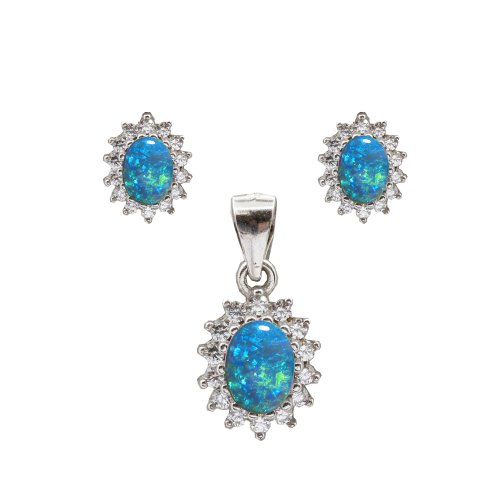 Sterling Silver Blue Opal Necklace Set