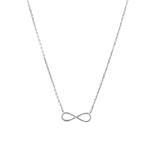 Sterling Silver Rhodium Plated Sideway Infinity Necklace