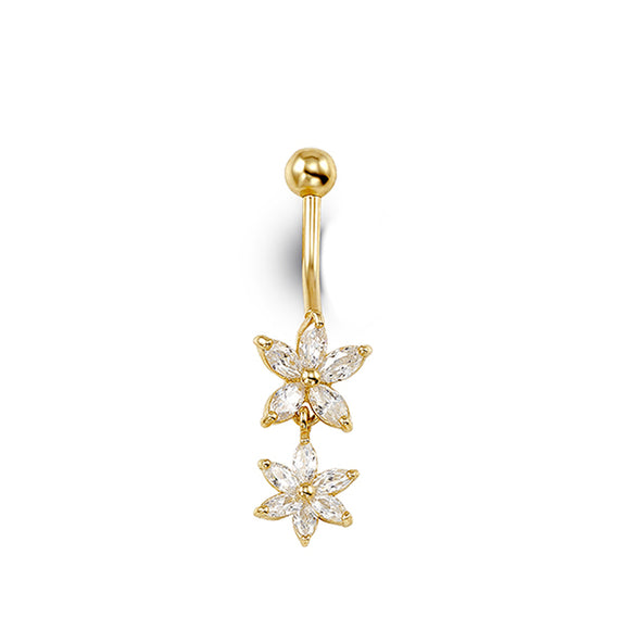 Yellow Gold Double Flower Belly Button Ring with Cubic Zirconia