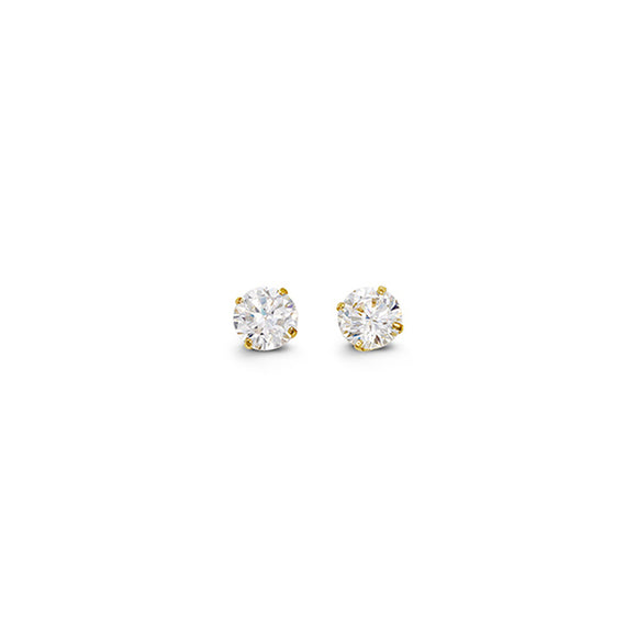 YellowGold Cz Studs 4mm