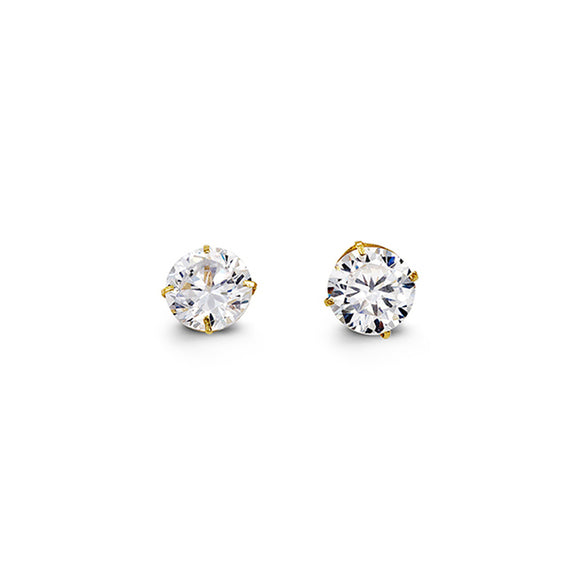 YellowGold Cz Studs 6mm