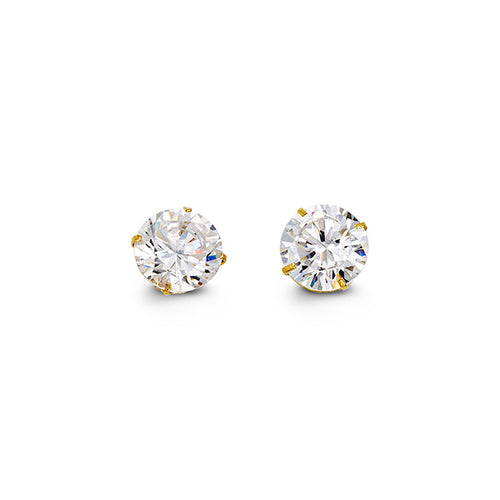 YellowGold Cz Studs 6.5mm