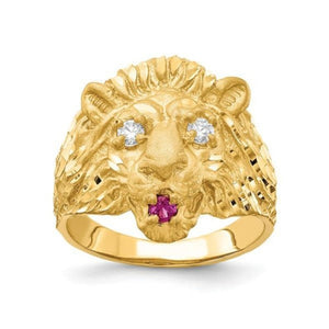 10K Yellow Gold Lion Head Ring with Cubic Zirconia