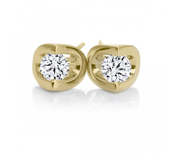 (.15cttw) Half Moon Set Diamond Studs