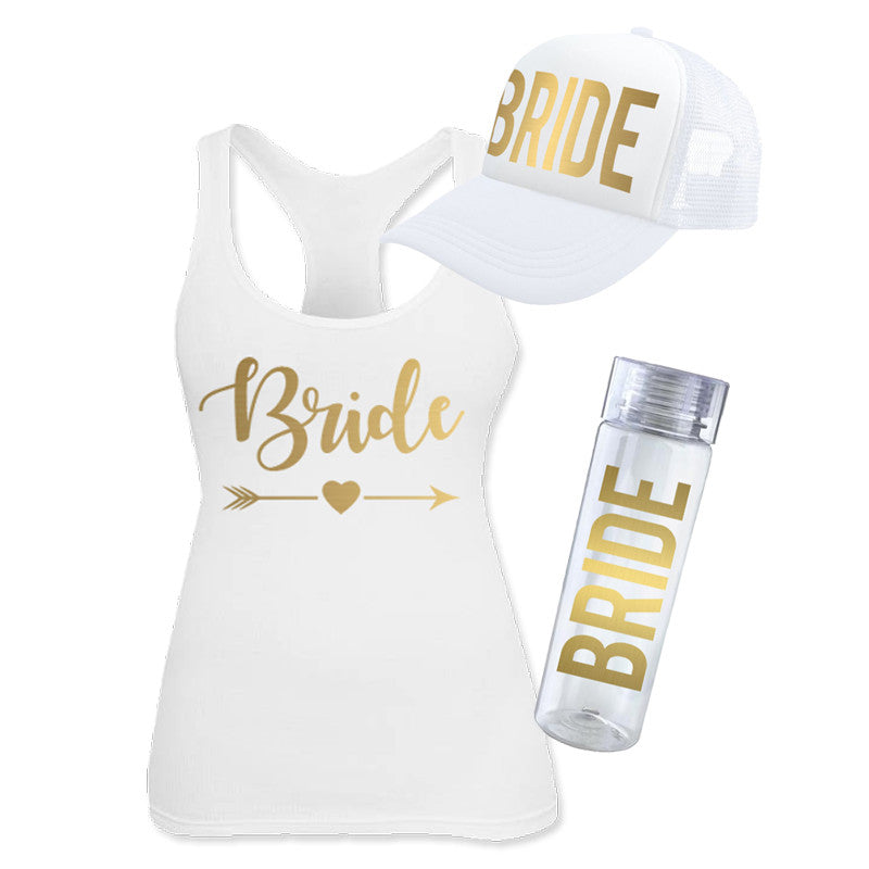 "Kit para novia ""Bride Gold"" (tank top, gorra tipo trucker y ánfora)"