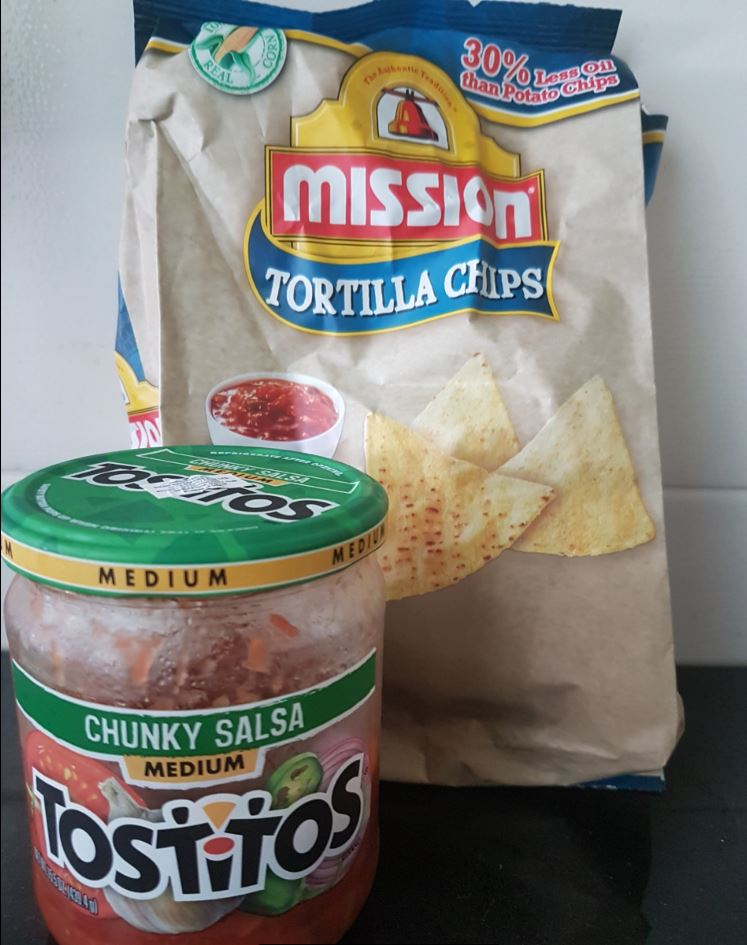 Mission Tortilla chips with Tostitos salsa dip - Great sinful snack!