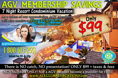 7 Night Resort Condominium Vacation is a Gift with AGV GOLD MEMBERSHIP