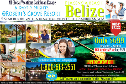 5 STAR ***** BELIZE GETAWAY for (2) - 6 Day 5 Night stay at Roberts Grove Beach Resort (5 Star property)