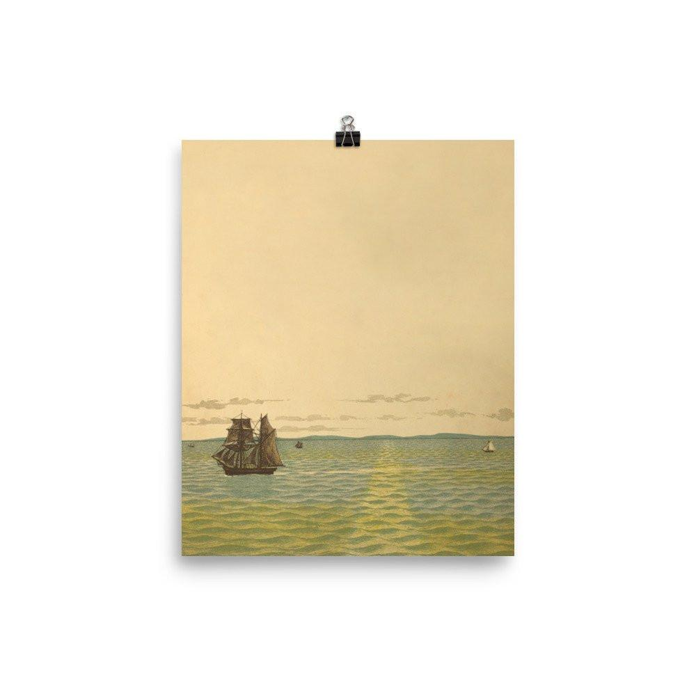 Out to Sea Vintage Art Poster-Art Poster-Venture Modern-8 x 10-Enhanced Matte Paper-Venture Modern