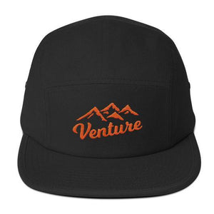"Venture Modern ""Venture"" Five Panel Cap-U hat-Venture Modern-Black-Orange-Venture Modern"