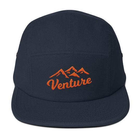 "Venture Modern ""Venture"" Five Panel Cap-U hat-Venture Modern-Navy-Orange-Venture Modern"