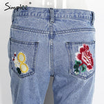 Floral Embroidery Straight Jeans-w pants-Simplee-Venture Modern