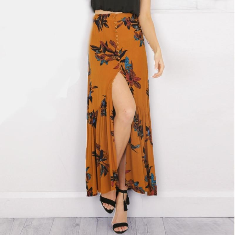 High Waisted Boho Flower Print Long Skirt-w skirt-Simplee-Venture Modern