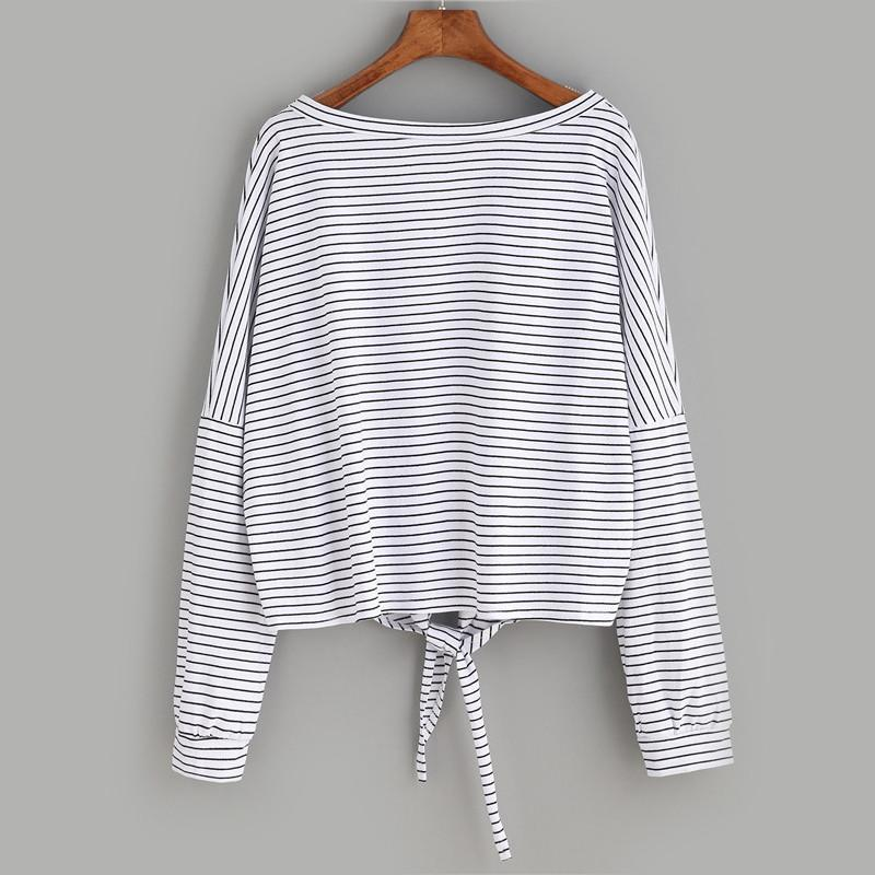 Striped Drop Shoulder Knot Long Sleeve-w blouse-ROMWE-Venture Modern