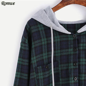 Plaid Button Up Sweatshirt w/ Hood-w sweatshirt-ROMWE-Venture Modern