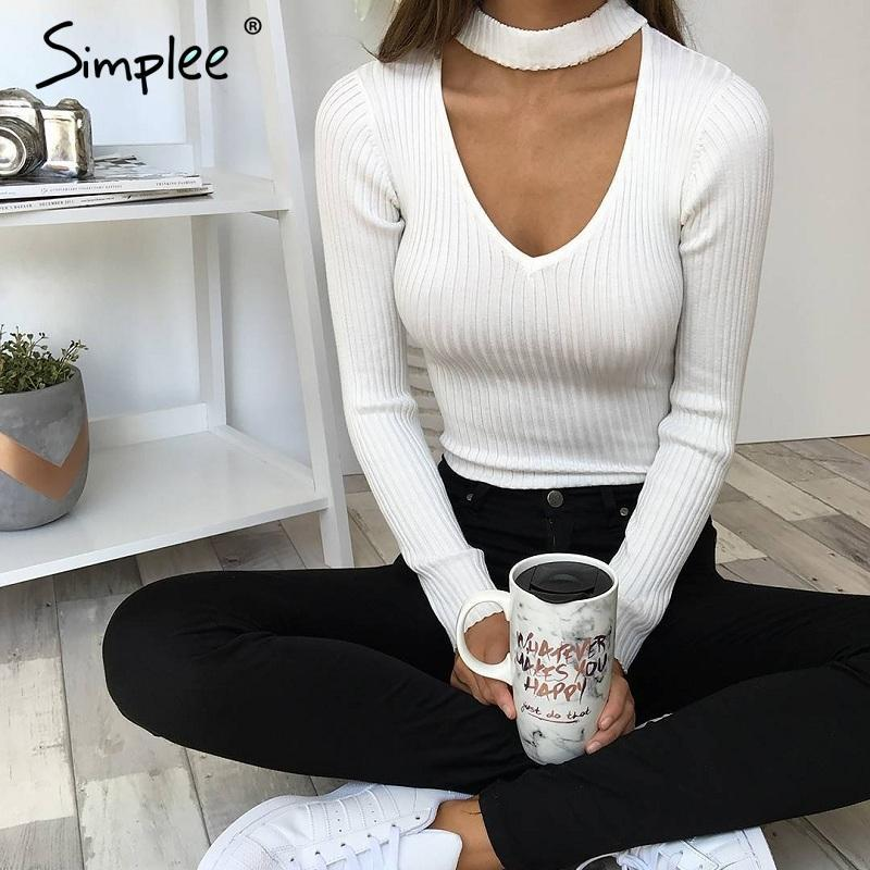 Slim V-Neck Pullover Top with Choker-w pullover-Simplee-Venture Modern