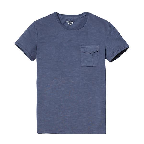 Spring New Arrival Men's 100% Pure Cotton Short Sleeve Pocket T Shirt-Shirt-SIMWOOD-denim blue-S-Venture Modern