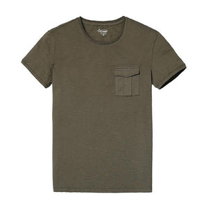 Spring New Arrival Men's 100% Pure Cotton Short Sleeve Pocket T Shirt-Shirt-SIMWOOD-army green-S-Venture Modern