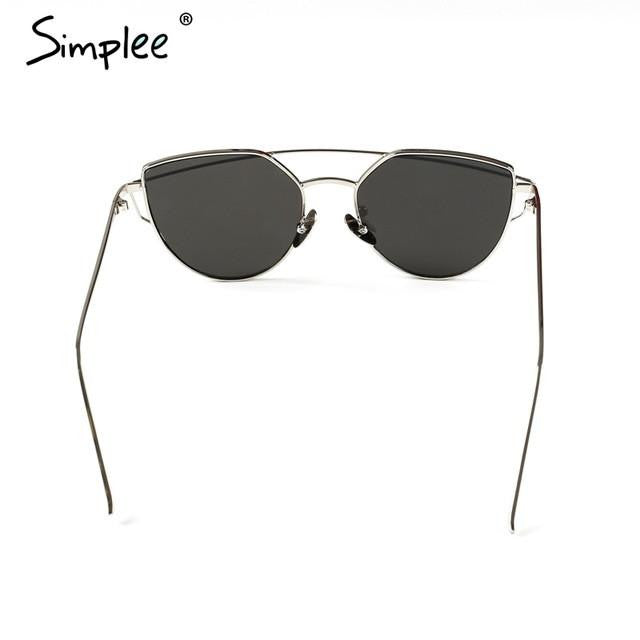 Cat Eye Twin-Beam Sunglasses-w sun glasses-Simplee-Silver frame silver-Venture Modern