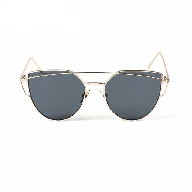 Cat Eye Twin-Beam Sunglasses-w sun glasses-Simplee-Gold frame silver-Venture Modern