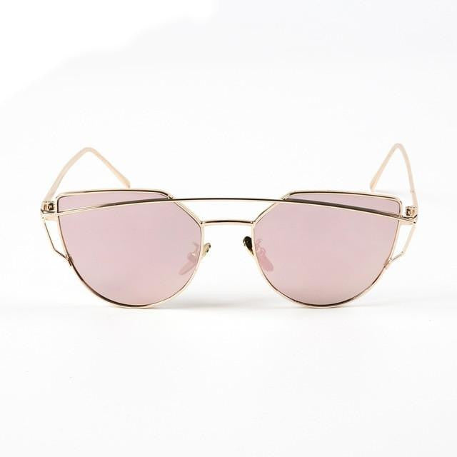 Cat Eye Twin-Beam Sunglasses-w sun glasses-Simplee-Gold frame pink-Venture Modern