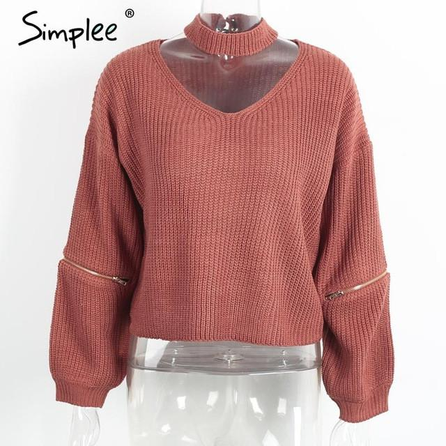 Loose Open Sweater With Choker And Zippers-w sweater-Simplee-Jacinth-One Size-Venture Modern