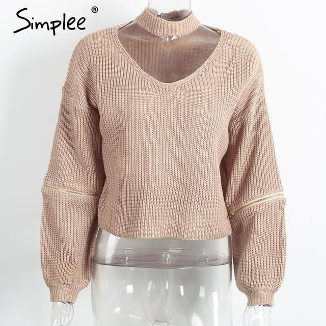 Loose Open Sweater With Choker And Zippers-w sweater-Simplee-Nude-One Size-Venture Modern
