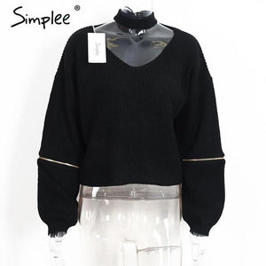 Loose Open Sweater With Choker And Zippers-w sweater-Simplee-Black-One Size-Venture Modern