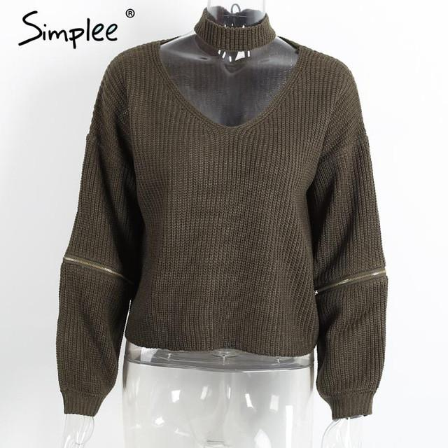 Loose Open Sweater With Choker And Zippers-w sweater-Simplee-Army Green-One Size-Venture Modern