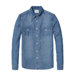 Long Sleeve Denim Button Up-denim-SIMWOOD-blue-XXXL-Venture Modern