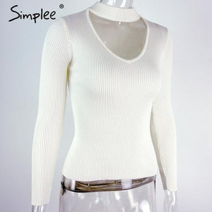Slim V-Neck Pullover Top with Choker-w pullover-Simplee-White-S-Venture Modern