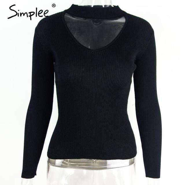 Slim V-Neck Pullover Top with Choker-w pullover-Simplee-Black-S-Venture Modern