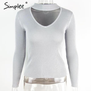 Slim V-Neck Pullover Top with Choker-w pullover-Simplee-Gray-S-Venture Modern