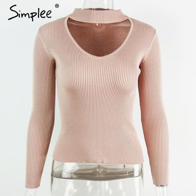 Slim V-Neck Pullover Top with Choker-w pullover-Simplee-Nude Pink-S-Venture Modern