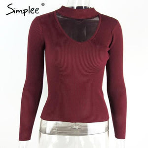 Slim V-Neck Pullover Top with Choker-w pullover-Simplee-Red Wine-S-Venture Modern