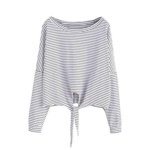 Striped Drop Shoulder Knot Long Sleeve-w blouse-ROMWE-White-One Size-Venture Modern