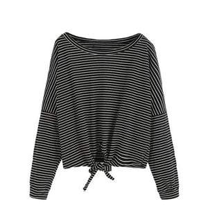 Striped Drop Shoulder Knot Long Sleeve-w blouse-ROMWE-Black-One Size-Venture Modern