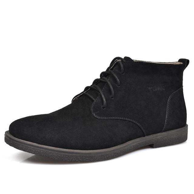 Nubuck Leather Casual Lace Up Desert Chukka Ankle Boot-boot-Venture Modern-Black-6-Venture Modern