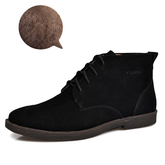Nubuck Leather Casual Lace Up Desert Chukka Ankle Boot-boot-Venture Modern-Black plush-6-Venture Modern