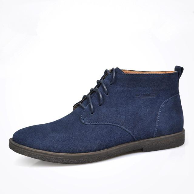 Nubuck Leather Casual Lace Up Desert Chukka Ankle Boot-boot-Venture Modern-Blue-6-Venture Modern