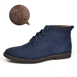Nubuck Leather Casual Lace Up Desert Chukka Ankle Boot-boot-Venture Modern-Blue Plush-6-Venture Modern