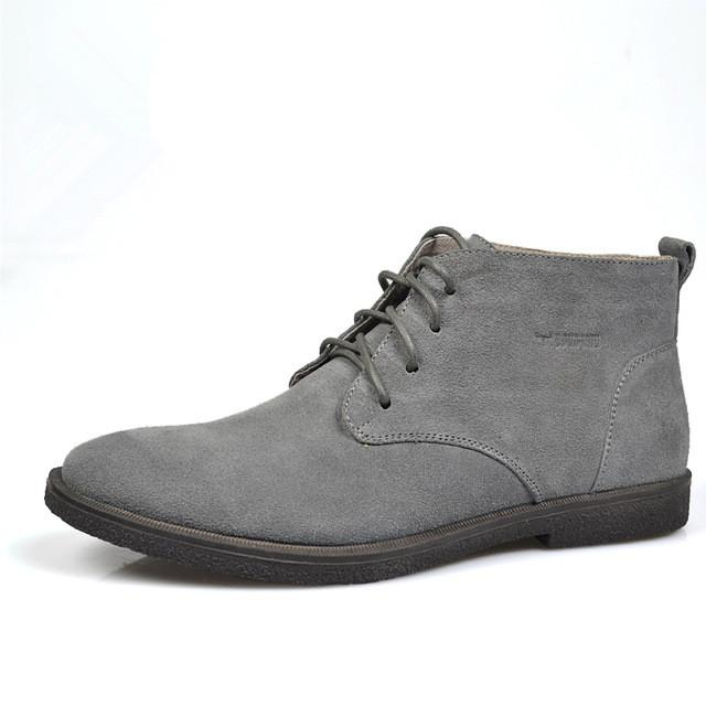Nubuck Leather Casual Lace Up Desert Chukka Ankle Boot-boot-Venture Modern-Grey-6-Venture Modern