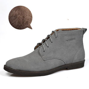 Nubuck Leather Casual Lace Up Desert Chukka Ankle Boot-boot-Venture Modern-Grey plush-6-Venture Modern