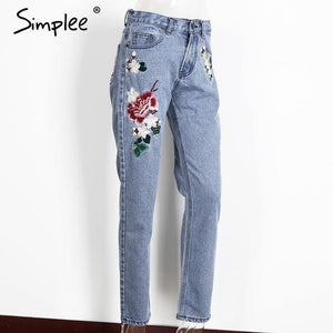 Floral Embroidery Straight Jeans-w pants-Simplee-Bleach Stone Multi-34-Venture Modern