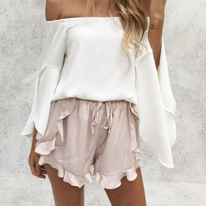 Ruffled High Waisted Loose Shorts-w shorts-Simplee-Venture Modern