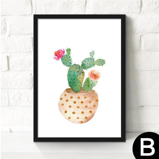 Canvas Cactus Water Color Art Poster-Canvas-Venture Modern-23x30cm no frame-B-Venture Modern