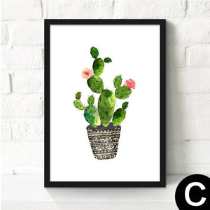 Canvas Cactus Water Color Art Poster-Canvas-Venture Modern-23x30cm no frame-C-Venture Modern