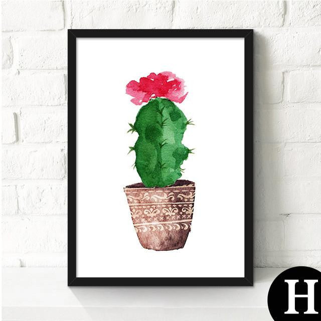 Canvas Cactus Water Color Art Poster-Canvas-Venture Modern-23x30cm no frame-H-Venture Modern
