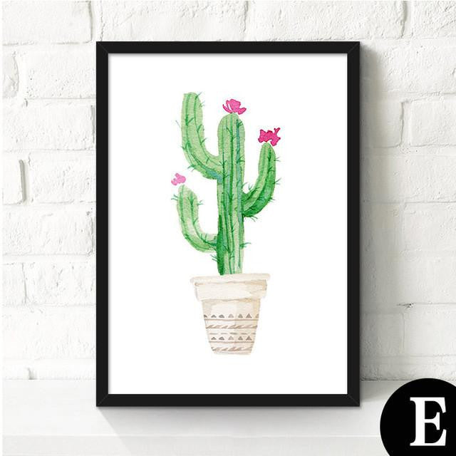 Canvas Cactus Water Color Art Poster-Canvas-Venture Modern-23x30cm no frame-E-Venture Modern